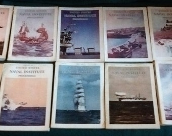 Vintage 1950 US Naval Institute Proceedings Magazine ( Lot of 10 ) Annapolis Md.