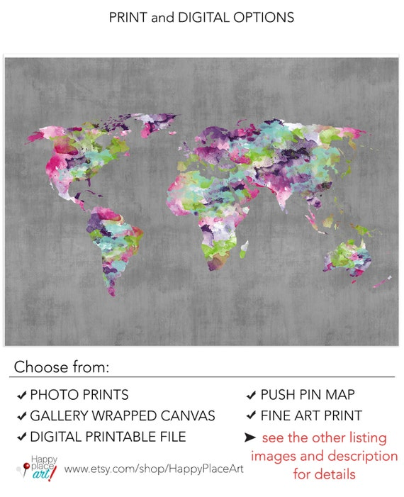 Funky world map pink and purple world map bright color world funky world map pink and purple world map bright color world map poster teen print dorm wall art large pin travel map gift for travel gumiabroncs Images