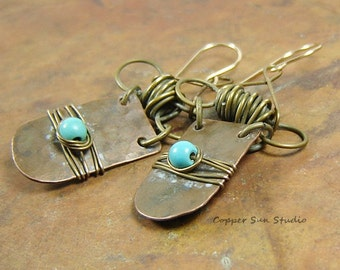 Rustic Mix Metal Turquoise Earrings with Hammered Texture, Handcrafted Wire Wrapping, Bohemian Style