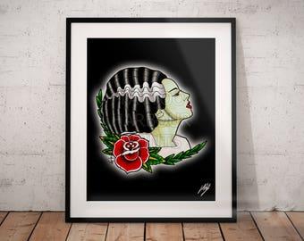Bride of Frankenstein Tattoo Parlor Poster Print