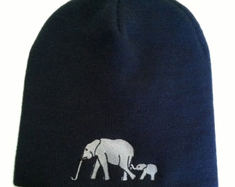 Elephant Beanie Black Unisex One Size Fits All Embroidered