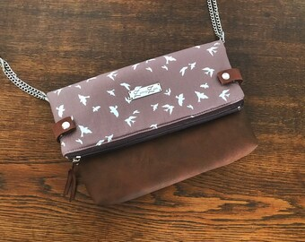 Foldover Bag -Fittonia- Swallows Taupe Shoulder Bag, Women's Shoulder Bag, Perfect Gift, Spring, Art Gallery Fabric