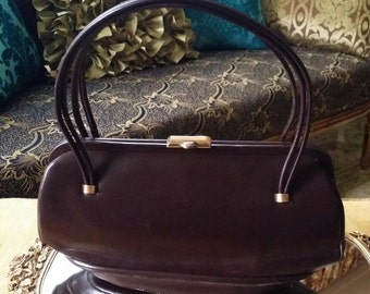 GORGEOUS! Couture Vintage 50s 60s Very Well Kept Authentic Designer Dofan High Quality Leather Purse Handbag Bag~Made in France