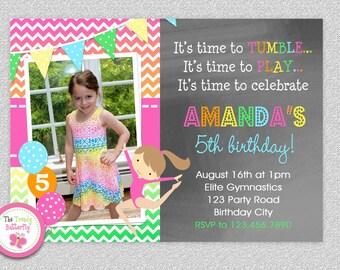 Gymnastics Birthday Invitation, Gymnastics Birthday Party Invitations, Girls Gymnastics  Birthday Invitation, Gymnastics Birthday Party