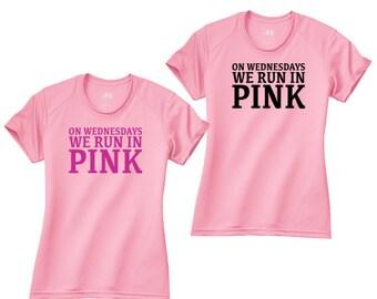 On Wednesdays We Run in Pink Workout Running Performance Ladies Women Crew Shirt NW3201
