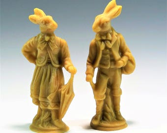 Beeswax Easter Rabbits Cast Using Antique Anton Reiche Chocolate Molds Beeswax Easter Decoration Beeswax Easter Ornament Easter Bunnies
