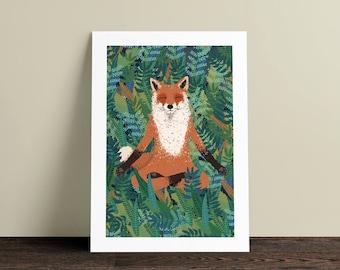 Fox Yoga A4 art print