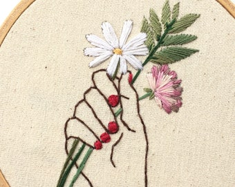 Hand Embroidery. Embroidered Hand. Hand Holding Flowers. Flower Embroidery. Red Nails. Hand Drawing Outline. Hand With Wedding Bouquet