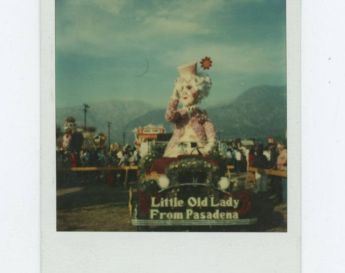 Vintage Polaroid SX-70 Snapshot Photo: Little Old Lady from Pasadena Parade Float [81638]