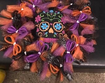 Day of the Dead Sugar Skull Wreath