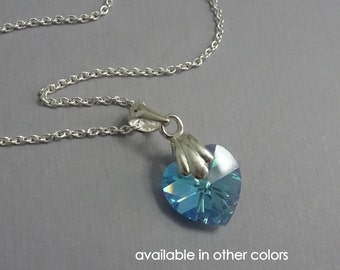 Light Blue Flower Girl Necklace, Flower Girl Jewelry, Tiny Swarovski Aquamarine Heart Necklace, Tiny Sterling Silver Heart Necklace