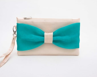 Promotional sale - Ivory cyan aqua turquoise bow wristlet clutch,bridesmaid gift ,wedding gift ,make up bag,zipper pouch