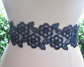 Navy blue wedding sash, navy lace ribbon belt.  Beaded Bridesmaid sash,  navy bridal belt, navy ribbon sash.