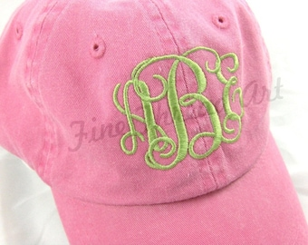 KIDS Monogram Baseball Cap Hat for Girls Boys Youth Size Name Initials Leather Strap