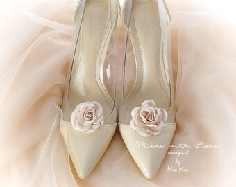 Shoe Clips , 1 Pair, Blush Champagne Rose Flower Bridal Shoe Clips Wedding Ballerina Jewelry Accessories Pin children Cute Lovely