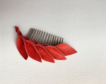 Red Leather Petal Hair Comb