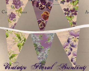 Vintage Floral Bunting - Printable - Instant Download - DIY Party Decoration