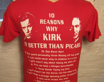 Size L (40) ** Star Trek Captain Kirk and Captain Picard Shirt (Single Sided)