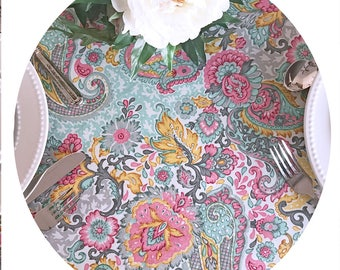 """new 2018 : 42 to 60"""" Round Tablecloth Acrylic Coated Blois Soft Green- or custom made your size up to 115"""" diameter. Umbrella Hole available"""