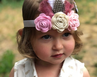 Felt flower headband - boho headband - feather headband - felt flower and feather headband - felt flowers - headband - baby headband