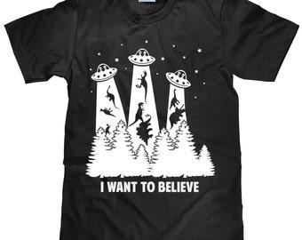 Men's Alien T Shirt - I Want To Believe - Dinosaur Abduction - Outer Space T Shirt - Item 1666