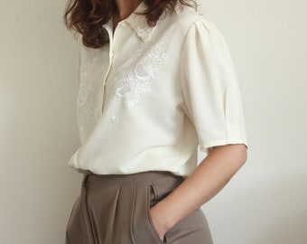 Cream Embroidered Blouse Size UK 12-14