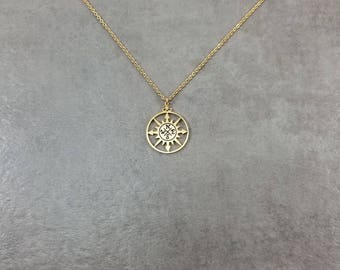 Sun Compass [GOLD] Plated Necklace Dainty Charm Gift Box North South East West Cardinal Direction Points Rose Traveler