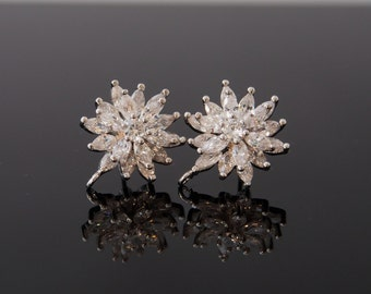2 Pcs - Large Gorgeous Rhodium Plated CZ Flower Ear Studs With 925 Sterling Silver Post, Wedding Jewelry, Bridal, Bridesmaid (11MM) - GY1701
