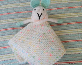 Hand knitted Baby Security Blanket, Comfort Cuddle Blankie, Snuggle Comforter, White and Green Lovey Bunny Rabbit