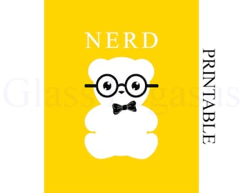 Graduation Gift for Him - Instant Download - Nerd Print - Modern Wall Art - Word Art  - Yellow  8 x 10 Print