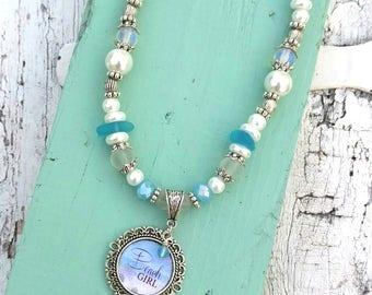 Sea glass Beach Girl Necklace, BeAch Jewelry, Seaglass necklace, Seaglass Jewelry, Blue Sea Glass