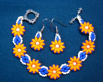Bright Orange and Blue Bracelet Set with matching earrings