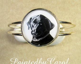 Black Lab Bracelet, Labrador Retriever Jewelry, Black Lab Jewelry, Black Lab Cuff, Black Lab Gifts, Black Lab Mom Gifts, Retriever Bracelet