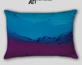 Lumbar pillow, Navy blue aubergine plum purple, Throw pillow cover, Decorative pillow case, Abstract art, Bedroom decor, Toss Sofa Cushion