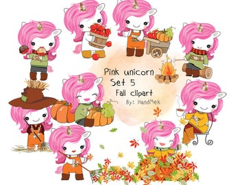 Pink unicorn Set 5 ,Fall clipart instant download PNG file - 300 dpi