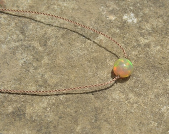 Opal Choker Necklace Ethiopian Opal Knotted Silk Necklace