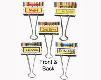 "Teacher Gift Personalized Binder Clips 2"" wide Organizer Retro"