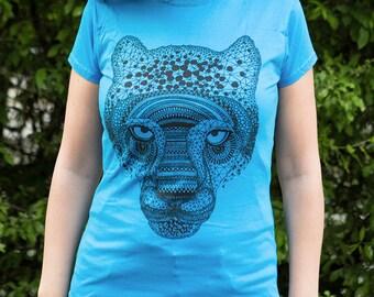 Jaguar Tiger illustration T-shirt // Animal Screen Print T-shirt / SALE / Screenprinted on a sapphire T-shirt // Women size S/M/L // 20% off