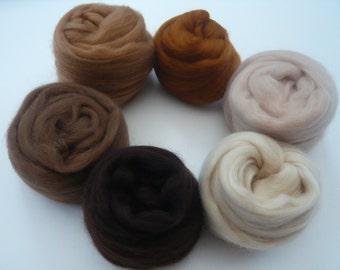 Heidifeathers Merino Wool Tops 'Beautiful Browns'