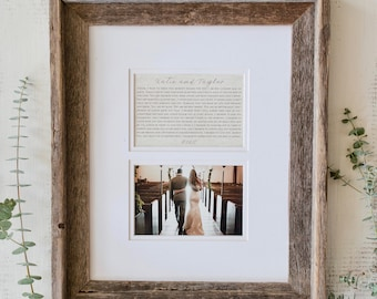 Wedding Vow Keepsake | Printed Wedding Vows  | Wedding Gift Picture Frame