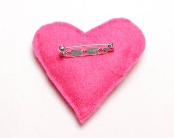 Handmade Heart Felt Brooch