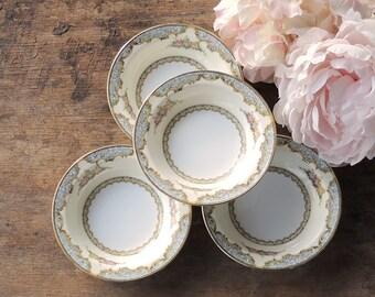 Vintage Noritake Martelle Dessert Bowls Set of 4  Weddings Tea Parties Cottage Style Serving Pieces Bridal China