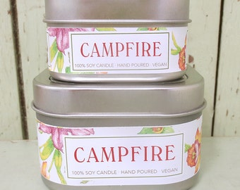 Campfire Soy Candle 4 oz. - Green Daffodil  -  Handpoured - Anne and Siouxsan -C4