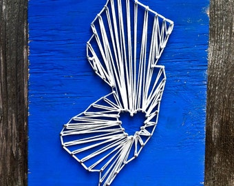 State String Art, String Art State, String Art Sign, Custom Sign, Rustic Sign, Custom String Art, New Jersey Sign, NJ Sign, New Jersey Art