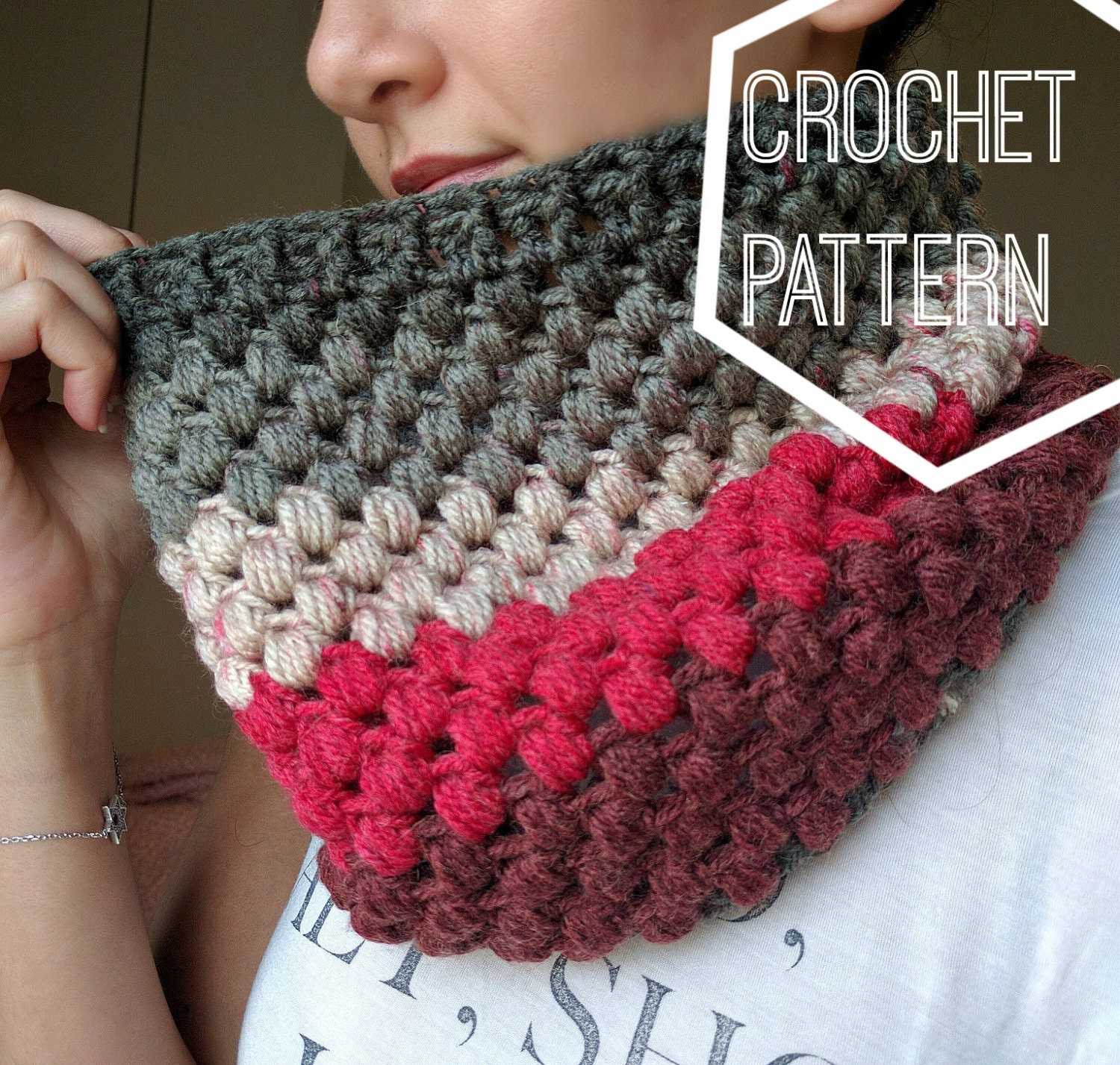 Striped Puff Stitch Cowl Pattern, Caron Cakes Yarn Pattern, Crochet ...