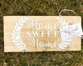 Home Sweet Home Wooden Keyholder