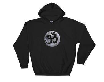 Om Moon Hooded Sweatshirt Yoga Hoodie  Festival Clothing  Zen Namaste Sweatshirt  Psychedelic Hoodie