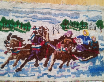 Embroidery Three horses. Handicraft. Old picture 1960. Soviet embroidered
