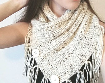 Buttoned Cowl Crochet Pattern with Fringe / Easy Crochet Pattern/ Women's Crochet Cowl/