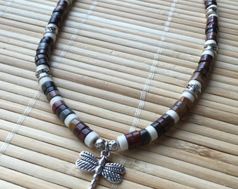Unisex Dragonfly Choker Necklace Jasper and White Turquoise Boho Casual Surfer Jewelry for Men or Women